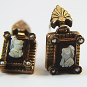 10k Victorian Hardstone Cameo Earrings