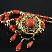 SALE Victorian Tomato Red Coral Gold Pendant and Graduated Coral Bead Necklace