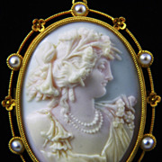 Early  Archaeological Cameo of Psyche in 18k Gold Pendant Brooch with Seed Pearls