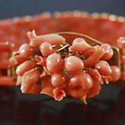 14k Victorian Sardinian Red Coral Fruit Bracelet