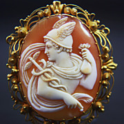 14K Victorian Cannetille Cameo Brooch of Hermes