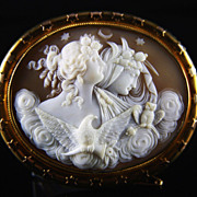 Huge Victorian 14K Cameo of Day and Night (Eos and Nyx)