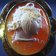 Large Victorian 14K Shell Cameo of Medusa