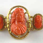 Rare Victorian Archaeological Revival Coral Cameo Brooch of Bacchus (Dionysus)