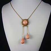 Victorian 14kt Etruscan Revival Natural Coral Pendant Necklace