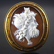 Large Victorian 14k Shell Cameo of Zeus