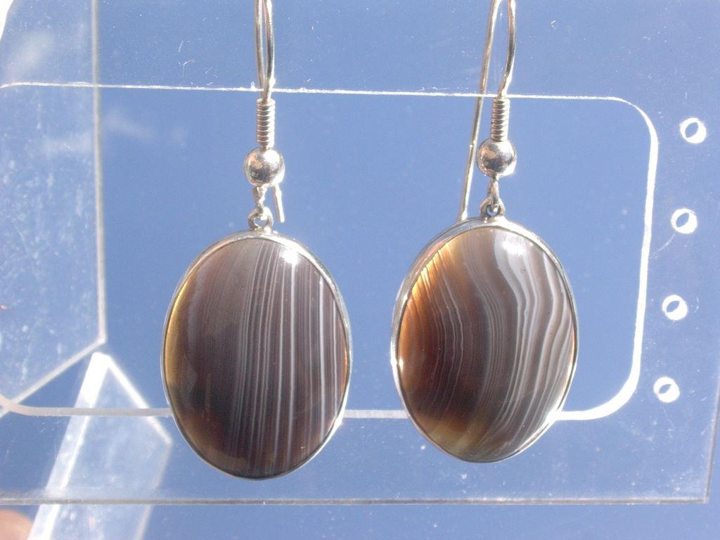 Sterling Smokey Grey Agate Dangle Earrings
