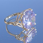 Sterling Large Amethyst (Man Made) Gemstone Incredible Ladies Ring