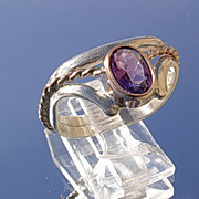 Sterling/9kt Rose Gold Amethyst  Ladies Ring