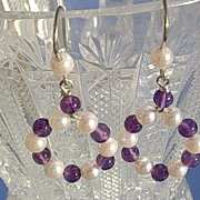 Sterling Lilac Amethyst/Freshwater Pearl Circular Dangle Earrings