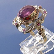 Sterling/9kt Pink Gold Amethyst/Multi Ruby  Ladies Ring
