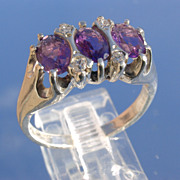 Sterling/Multi Amethyst and Cubic Zircon Ladies Ring