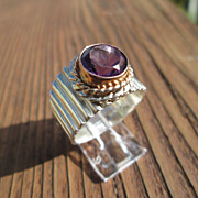 Sterling/9ct Pink Gold Multi Textured Unisex Amethyst Ring
