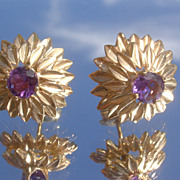 Sterling/Vermeil Finish Amethyst Floral Earring