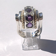 Sterling/10kt: Art Deco Style Multi Amethyst Ring