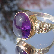 Sterling/9kt Cabochon Oval Amethyst Ladies Ring