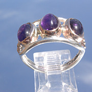 Sterling/9kt Triple Deep Purple Amethyst Ladies Ring