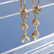14kt Triple Cut Aquamarine Dangle Earrings