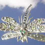 Sterling Multi Gemstone Smiling Dragon Fly Brooch