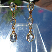14kt Light Blue Oval and Pear Shape Multi Aquamarine Dangle Earrings