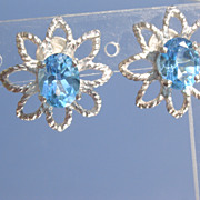 Sterling Blue Topaz Exotic Floral Stud Earrings