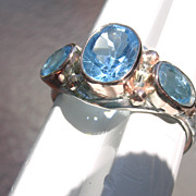 Sterling/9kt Vivacious Triple Blue Topaz Ladies Ring