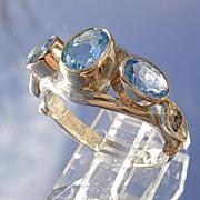 Sterling/9kt Gold Vivacious Multi Blue Topaz/Sapphire Ladies Ring