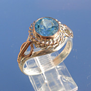 Sterling/9kt Sky Blue Round Blue Topaz Ladies Ring