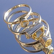 Silver Triple Sunshine Golden Citrine Stacking Rings