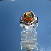 Sterling/9kt Oval Citrine Ladies Ring