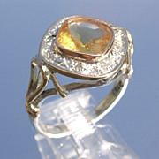 Sterling/10kt Diamond Shape Citrine/Multi Diamond Ladies Ring