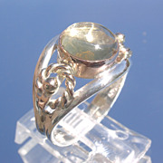 Sterling/9kt Pink Gold Spherical Citrine Ladies Ring