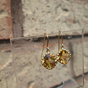 14kt Briolette Cut Sunshine Yellow Citrine Dangle Earring