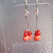 SALE Sterling Multi Coral Dangle Earrings