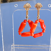 14kt Multi Shape Red Coral Dangle Earrings