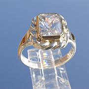 Sterling/9ct Yellow Gold Emerald Cut Cubic Zircon Ladies Ring