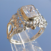 Sterling/9kt Ornate Cubic Zircon Emerald Cut Ladies Ring