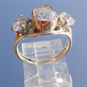 Sterling/9kt Pink Gold Flower/and Round Cut Cubic Zircon Ladies Ring