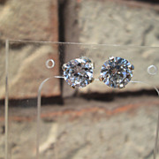 Sterling/14kt &quot;1.50&quot; Carat Cubic Zircon Stud Earrings