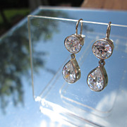 Sterling and 14kt Round/Pear Shape Cubic Zircon Dangle Earrings