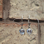 Sterling Artisan Cubic Zircon Heart Dangle Earring