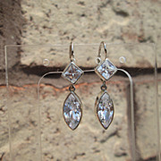 Sterling/14kt Diamond/Marquise Cut Cubic Zircon Dangle Earrings