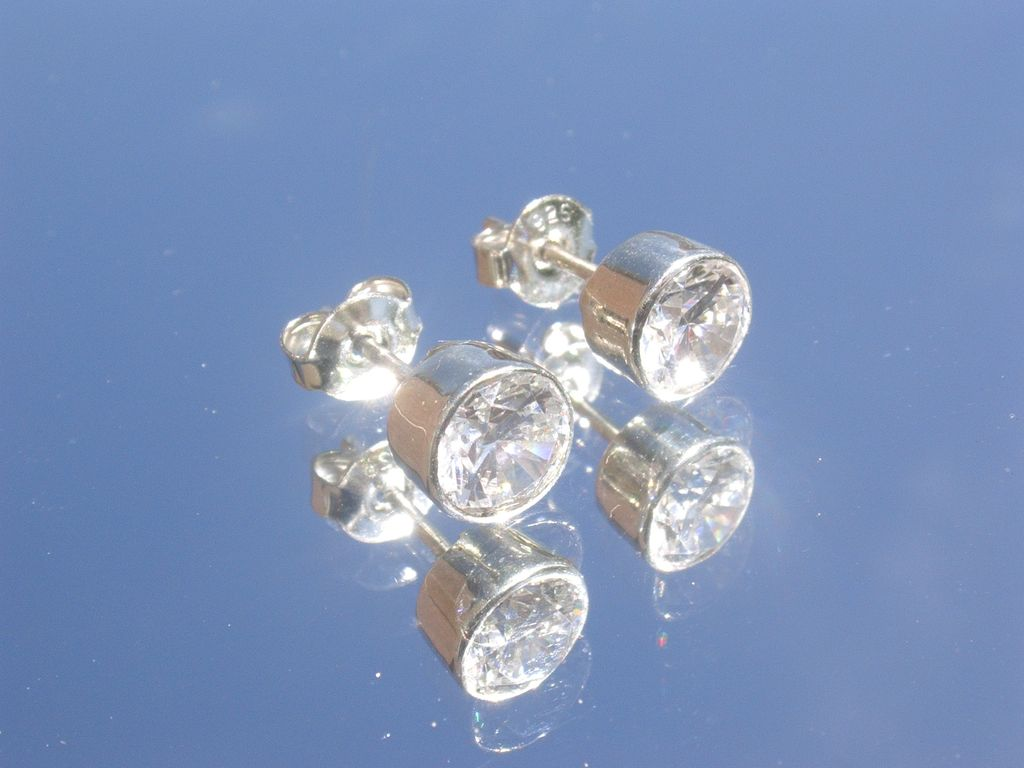 Sterling Cubic Zircon Stud Earrings