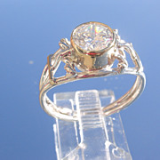 Sterling Wire/9kt Yellow Gold Cubic Zircon Ladies Ring