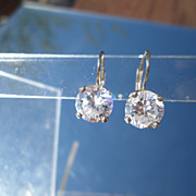 Sterling/14kt Two Carat Cubic Zircon Earrings European Back Closure