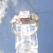 Sterling/9kt Square/Pear Shape Cubic Zircon Ladies Ring