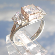 Sterling/9kt Square/Round Cubic Zircon Ladies Ring