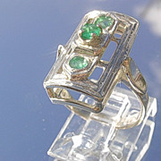 Sterling Rectangular Shaped Multi Emerald Ladies Ring