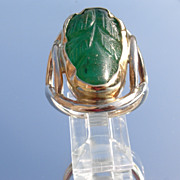 Sterling/10kt Carved Emerald Leaf Ladies Ring