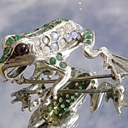 Sterling  Multi Emerald/Opal/Garnet Frog Brooch